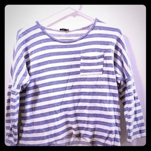 White and Blue Striped Crop Shirt